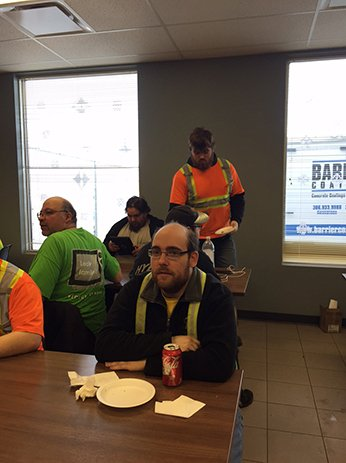 Sarcan Recycling in Regina pizza lunch